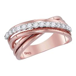 Diamond Crossover Band Ring 3/8 Cttw 14kt Rose Gold