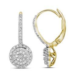 Diamond Flower Cluster Dangle Leverback Earrings 1/2 Cttw 10kt Yellow Gold