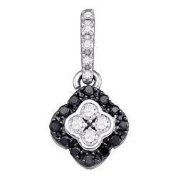Round Black Color Enhanced Diamond Quatrefoil Cluster Pendant 1/3 Cttw 10kt White Gold
