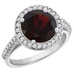 2.44 CTW Garnet & Diamond Ring 14K White Gold - REF-57R3H