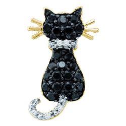 Round Black Color Enhanced Diamond Kitty Cat Feline Pendant 1/3 Cttw 10kt Yellow Gold