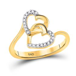 Diamond Double Heart Ring 1/12 Cttw 10kt Yellow Gold