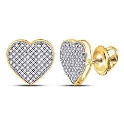 Diamond Heart Cluster Earrings 1/2 Cttw 10kt Yellow Gold