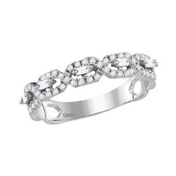 Diamond Twist Stackable Band Ring 1/3 Cttw 10kt White Gold