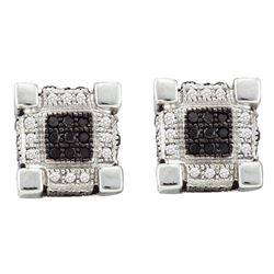 Mens Diamond 3D Cube Square Cluster Stud Earrings 1/4 Cttw 10kt White Gold