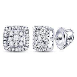Diamond Square Cluster Earrings 1/3 Cttw 14kt White Gold
