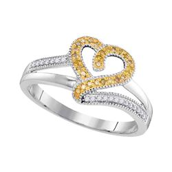 Round Yellow Color Enhanced Diamond Heart Ring 1/8 Cttw 10kt White Gold