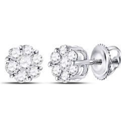 Diamond Flower Cluster Earrings 1/2 Cttw 10kt White Gold