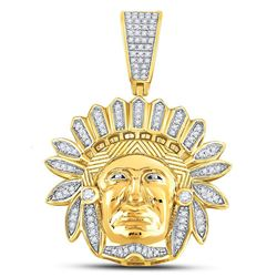 Mens Diamond Native American Indian Chief Charm Pendant 1/3 Cttw 10kt Yellow Gold
