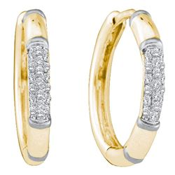 Diamond Cluster Hoop Earrings 1/6 Cttw 14kt Yellow Gold