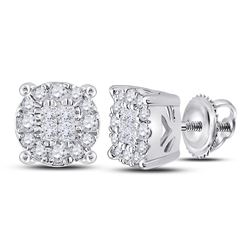 Diamond Fashion Cluster Earrings 1/4 Cttw 14kt White Gold