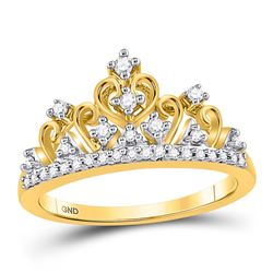 Diamond Tiara Crown Band Ring 1/5 Cttw 10kt Yellow Gold