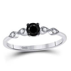 Round Black Color Enhanced Diamond Solitaire Bridal Wedding Engagement Ring 1/3 Cttw 10kt White Gold