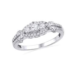 Diamond 3-stone Bridal Wedding Engagement Ring 1/2 Cttw 10kt White Gold