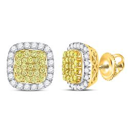 Round Canary Yellow Diamond Square Frame Cluster Earrings 2.00 Cttw 14kt Yellow Gold