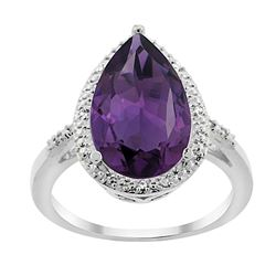 5.55 CTW Amethyst & Diamond Ring 14K White Gold - REF-44N9Y
