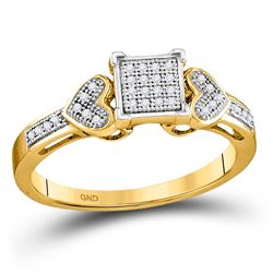 Diamond Heart Cluster Ring 1/10 Cttw 10kt Yellow Gold