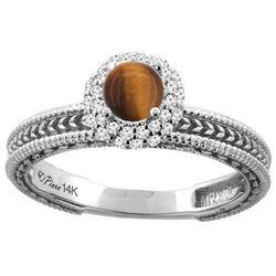 0.85 CTW Tiger Eye & Diamond Ring 14K White Gold - REF-53F5N