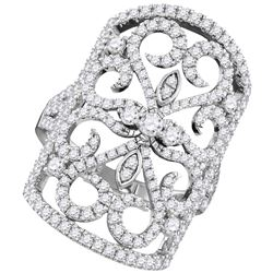 Diamond Vintage-style Knuckle Band Ring 1-3/4 Cttw 14kt White Gold