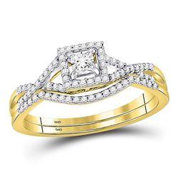Diamond Bridal Wedding Engagement Ring Band Set 1/3 Cttw 14kt Yellow Gold
