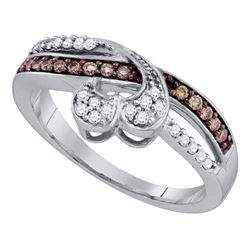Round Brown Diamond Heart Band Ring 1/4 Cttw 10kt White Gold