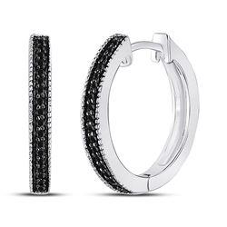 Round Black Color Enhanced Diamond Hoop Earrings 1/10 Cttw 10kt White Gold