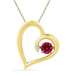 Round Lab-Created Ruby Heart Pendant 1/5 Cttw 10kt Yellow Gold