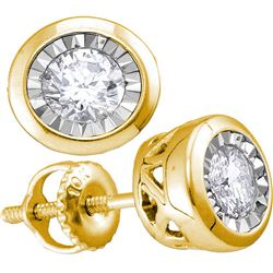 Diamond Solitaire Illusion-set Stud Earrings 1/10 Cttw 10kt Yellow Gold