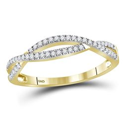 Diamond Crossover Woven Band Ring 1/5 Cttw 10kt Yellow Gold