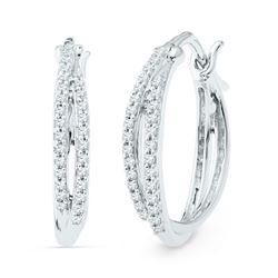 Diamond Double Row Hoop Earrings 1/4 Cttw 10kt White Gold