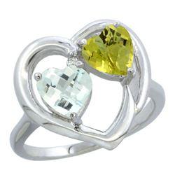2.61 CTW Diamond, Aquamarine & Lemon Quartz Ring 14K White Gold - REF-37W7F