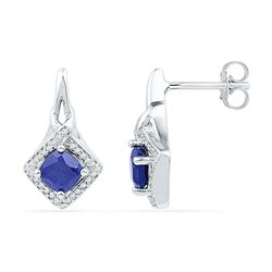 Round Lab-Created Blue Sapphire Stud Earrings 2.00 Cttw 10kt White Gold