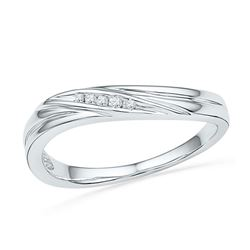 Diamond Contoured Band Ring .02 Cttw 10kt White Gold