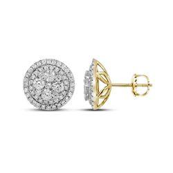 Diamond Framed Flower Cluster Earrings 1-3/4 Cttw 14kt Yellow Gold