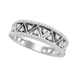Diamond Geometric Band Ring 1/3 Cttw 10kt White Gold