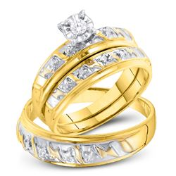 His & Hers Diamond Solitaire Matching Bridal Wedding Ring Band Set 1/12 Cttw 10kt Yellow Gold