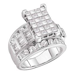 Diamond Cluster Bridal Wedding Engagement Ring 3.00 Cttw 10kt White Gold