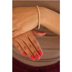 Natural 5.01 ctw Diamond Eternity Tennis Bracelet 18K Rose Gold - REF-390M4F