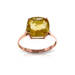 Genuine 3.6 ctw Citrine Ring 14KT Rose Gold - REF-34Z7N