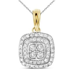 Diamond Cushion Cluster Pendant 1/3 Cttw 14kt Yellow Gold
