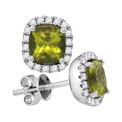 Peridot Solitaire Diamond Frame Earrings 1.00 Cttw 14kt White Gold
