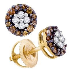 Round Brown Diamond Cluster Earrings 1/3 Cttw 10kt Yellow Gold
