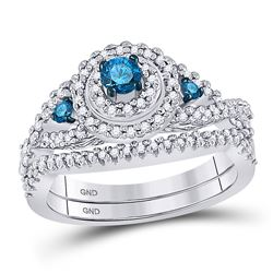 Round Blue Color Enhanced Diamond Bridal Wedding Engagement Ring Band Set 5/8 Cttw 10kt White Gold