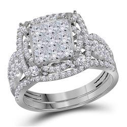Diamond Bridal Wedding Engagement Ring Band Set 2.00 Cttw 14kt White Gold
