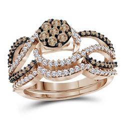 Round Brown Diamond Cluster Bridal Wedding Engagement Ring Band Set 1.00 Cttw 10kt Rose Gold