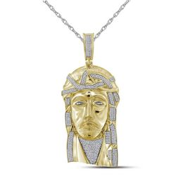 Mens Diamond Jesus Christ Messiah Charm Pendant 1-5/8 Cttw 10kt Yellow Gold