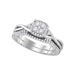 Diamond Cluster Bridal Wedding Engagement Ring Band Set 3/8 Cttw 14k White Gold