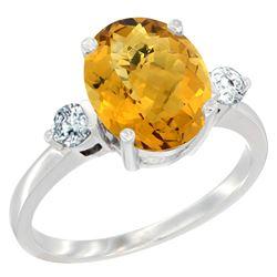 2.60 CTW Quartz & Diamond Ring 14K White Gold - REF-68M2K