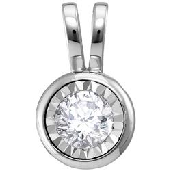 Diamond Solitaire Faceted Framed Pendant 1/10 Cttw 10kt White Gold