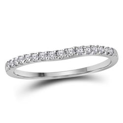 Diamond Single Row Contoured Wedding Band 1/6 Cttw 10kt White Gold